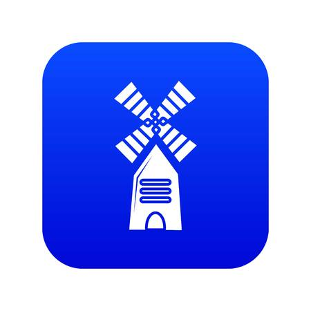 Farm windmill icon blue vector isolated on white background