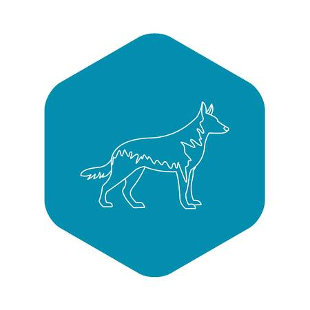 German wolfhound icon, outline style