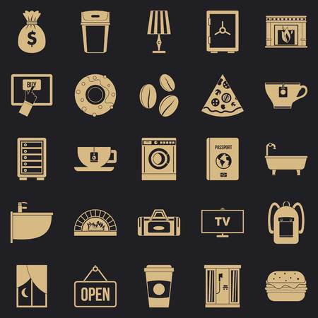 Holiday house icons set, simple style Vectores