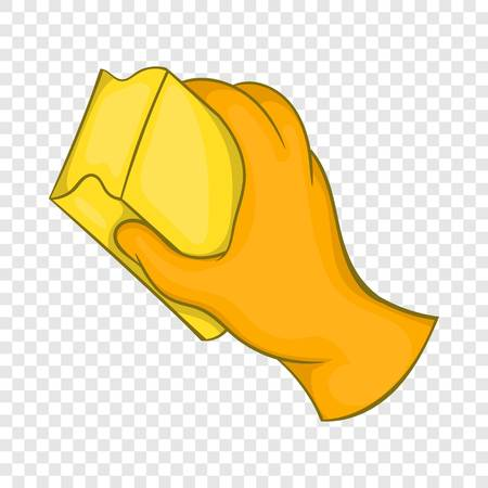 Hand in orange glove with rag icon in cartoon style on a background for any web design