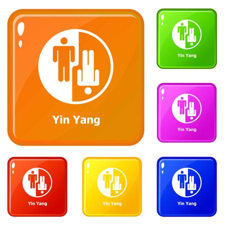 Ying yang icons set vector color Illustration