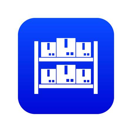 Storage of goods in warehouse icon digital blue for any design isolated on white vector illustration