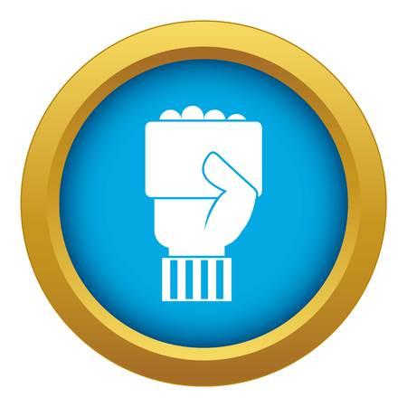 Mano de árbitro de fútbol mostrando icono de tarjeta vector azul aislado sobre fondo blanco para cualquier diseño