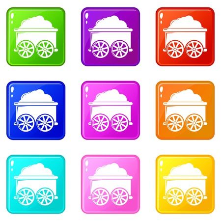 Train wagon icons set 9 color collection isolated on white for any design