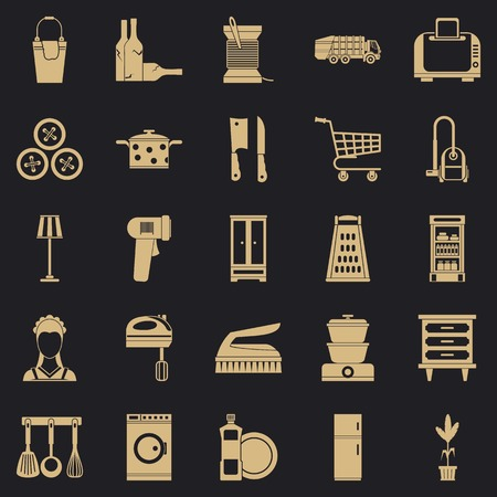 Family life icons set, simple style  イラスト・ベクター素材