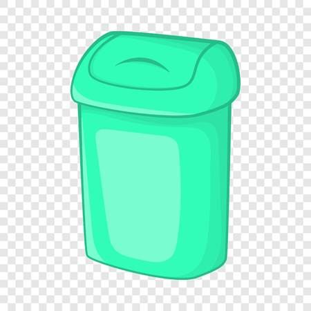 Turquoise trash can icon in cartoon style on a background for any web design Illustration