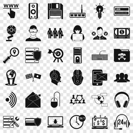 Cyber shield icons set, simple style