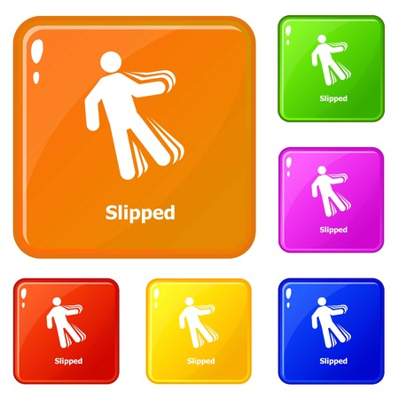 Slipped icons set vector color