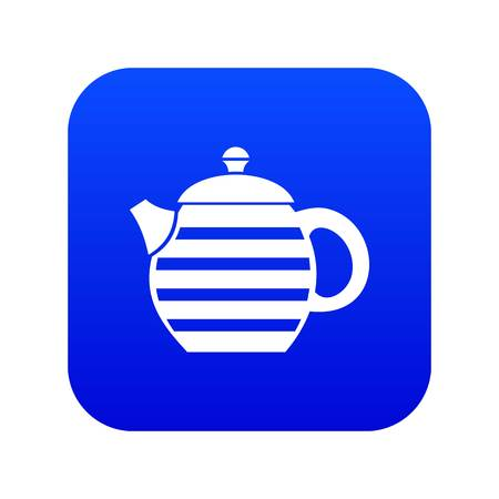 Striped teapot icon digital blue for any design isolated on white vector illustration