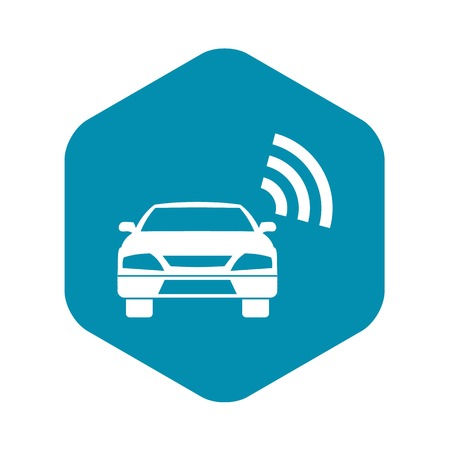 Car with wifi sign icon, simple style Stock Illustratie