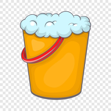 Yellow bucket with foamy water icon in cartoon style on a background for any web design