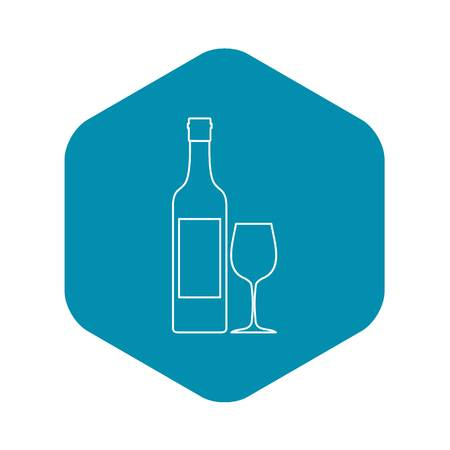 Bottle of wine icon, outline style Vettoriali