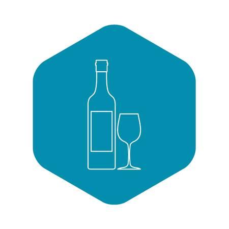 Icône de bouteille de vin, style de contour Vecteurs
