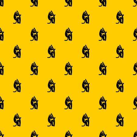 Macaque on a tree pattern seamless vector repeat geometric yellow for any design