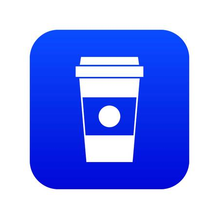 Paper cup of coffee icon digital blue for any design isolated on white vector illustration Vectores
