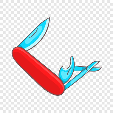 Red pocket knife with lots of tools icon