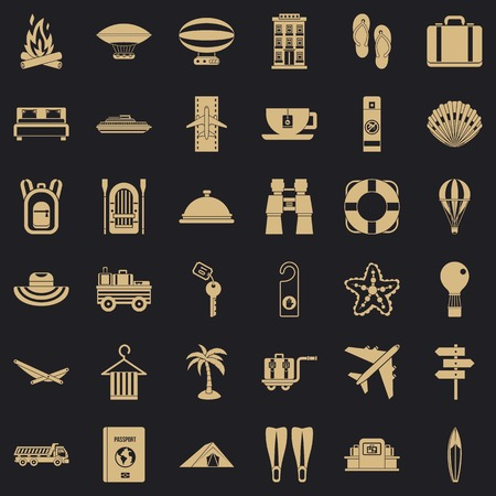 Summer travel icons set, simple style