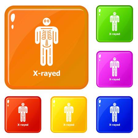 Xray icons set vector color