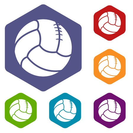 Retro volleyball icons vector hexahedron