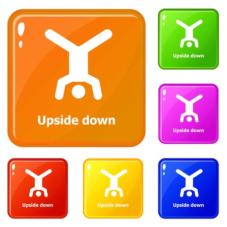 Upside down icons set vector color
