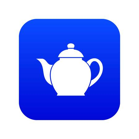 Teapot icon digital blue for any design isolated on white vector illustration