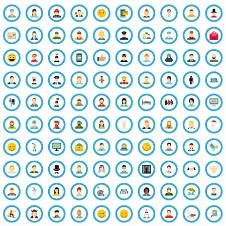 100 kin icons set, flat style Illustration