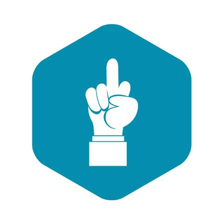Middle finger hand sign icon, simple style Vectores