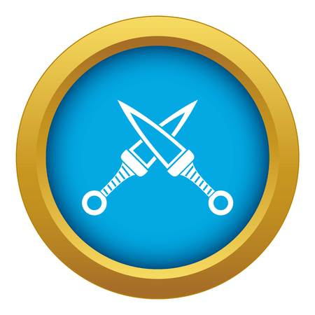 Crossed japanese daggers icon blue vector isolated Illustration