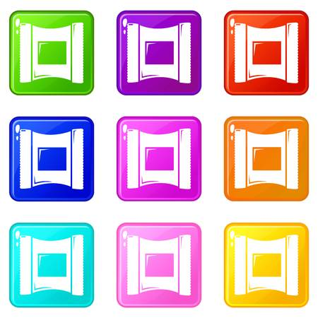 Wet wipes package icons set 9 color collection