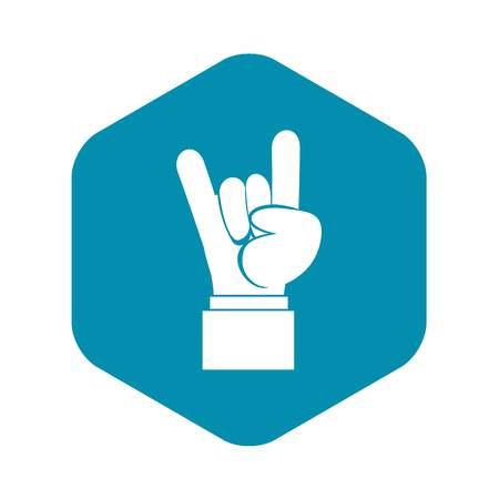 Rock and Roll hand sign icon in simple style isolated vector illustration 矢量图像