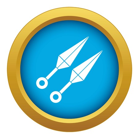 Ninja weapon kunai, throwing knives icon blue vector isolated on white background for any design