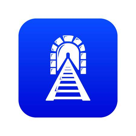 Railway tunnel icon blue vector isolated on white background