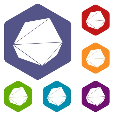 Origami stone icons vector hexahedron Illustration