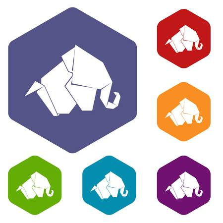Origami elephant icons vector hexahedron