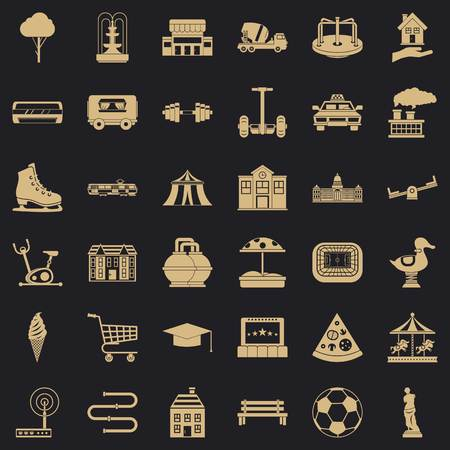 Urban thing icons set, simple style