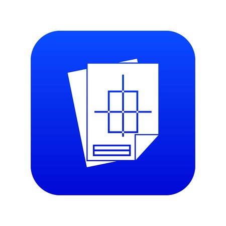 Home construction project icon digital blue