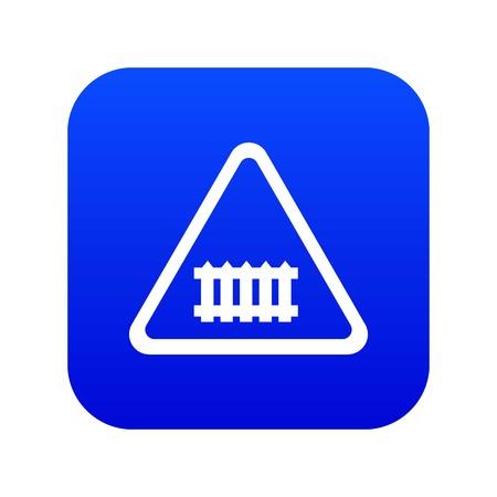 Crossing railroad barrier icon blue vector