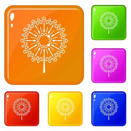 Dandelion flower icons set vector color 向量圖像