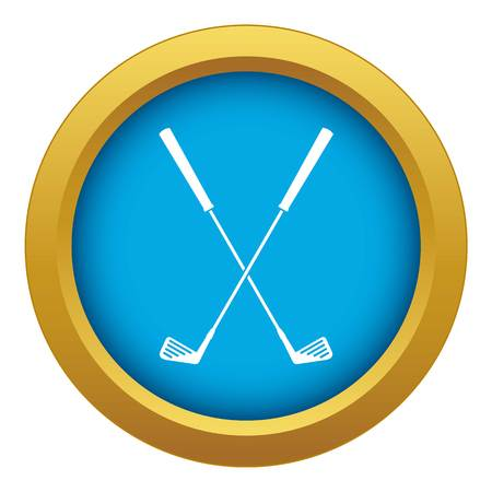Two golf clubs icon blue vector isolated