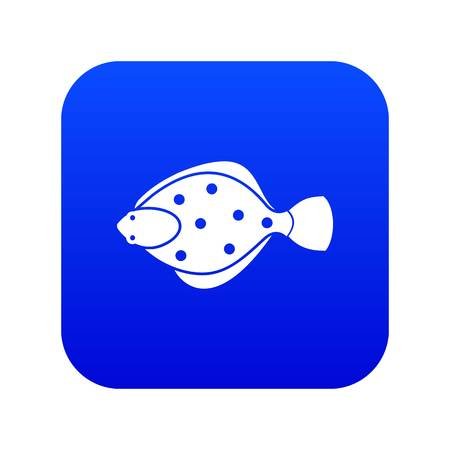 Flounder fish icon digital blue