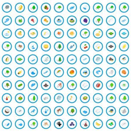 100 land icons set, isometric 3d style