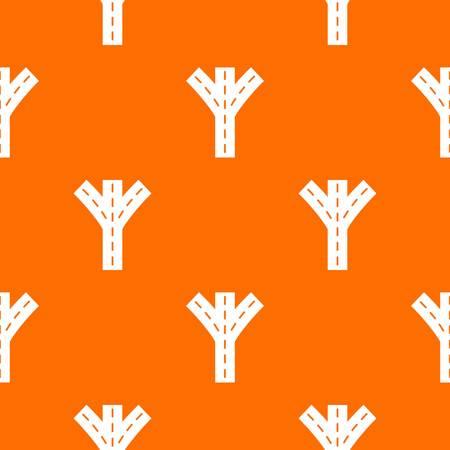 Road fork pattern vector orange
