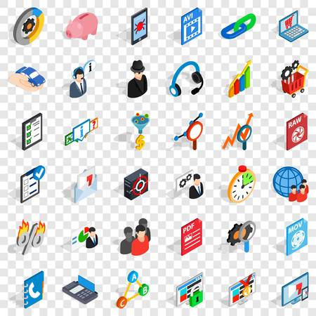 Database protection icons set, isometric style Ilustración de vector