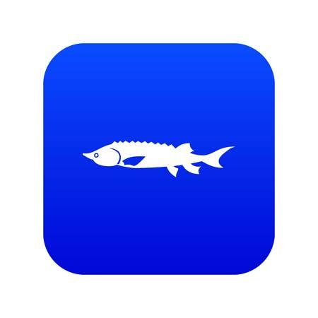 Fresh sturgeon fish icon digital blue