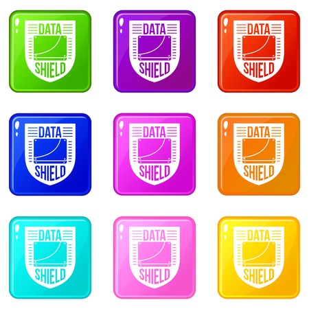Data shield icons set 9 color collection Illustration