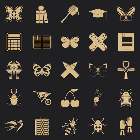 Hexapod icons set, simple style