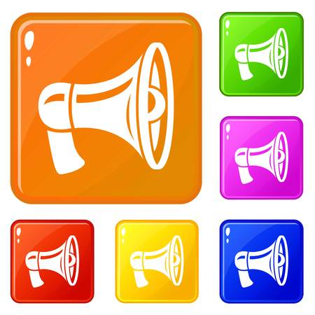 Retro megaphone icons set vector color