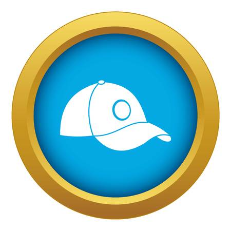 Cap icon blue vector isolated