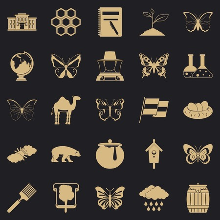 Crum icons set, simple style