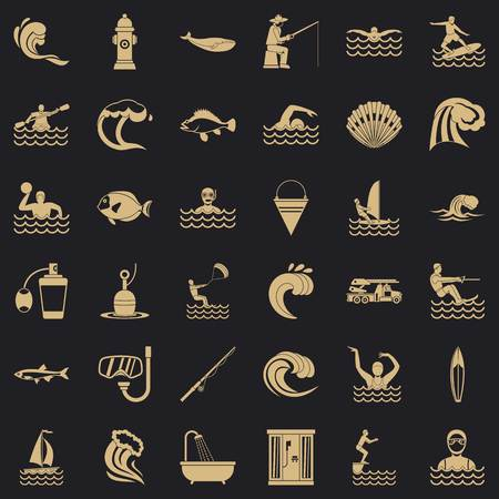 Sea water icons set. Simple style of 36 sea water vector icons for web for any design
